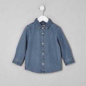Mini - Blauw denim overhemd met geborduurde wesp voor jongens