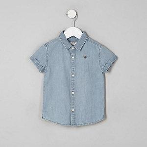 Mini boys blue short sleeve denim shirt