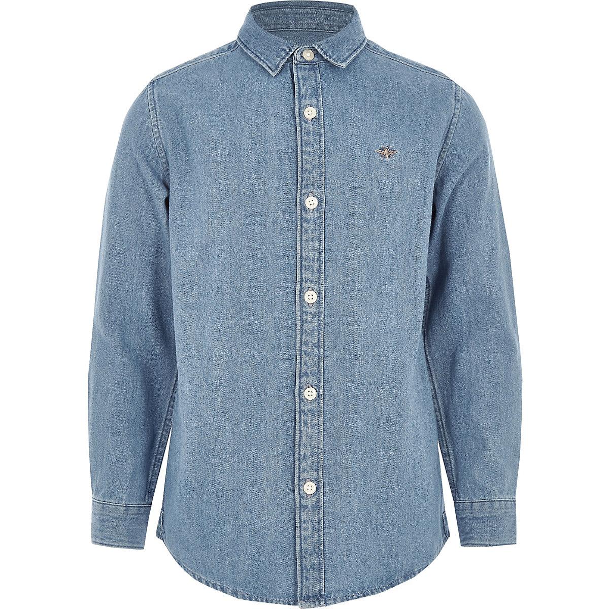Boys mid blue wasp embroidered denim shirt