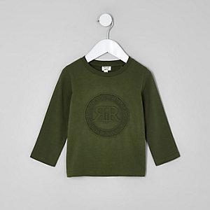 Chemise kaki avec logo RI en relief mini garçon