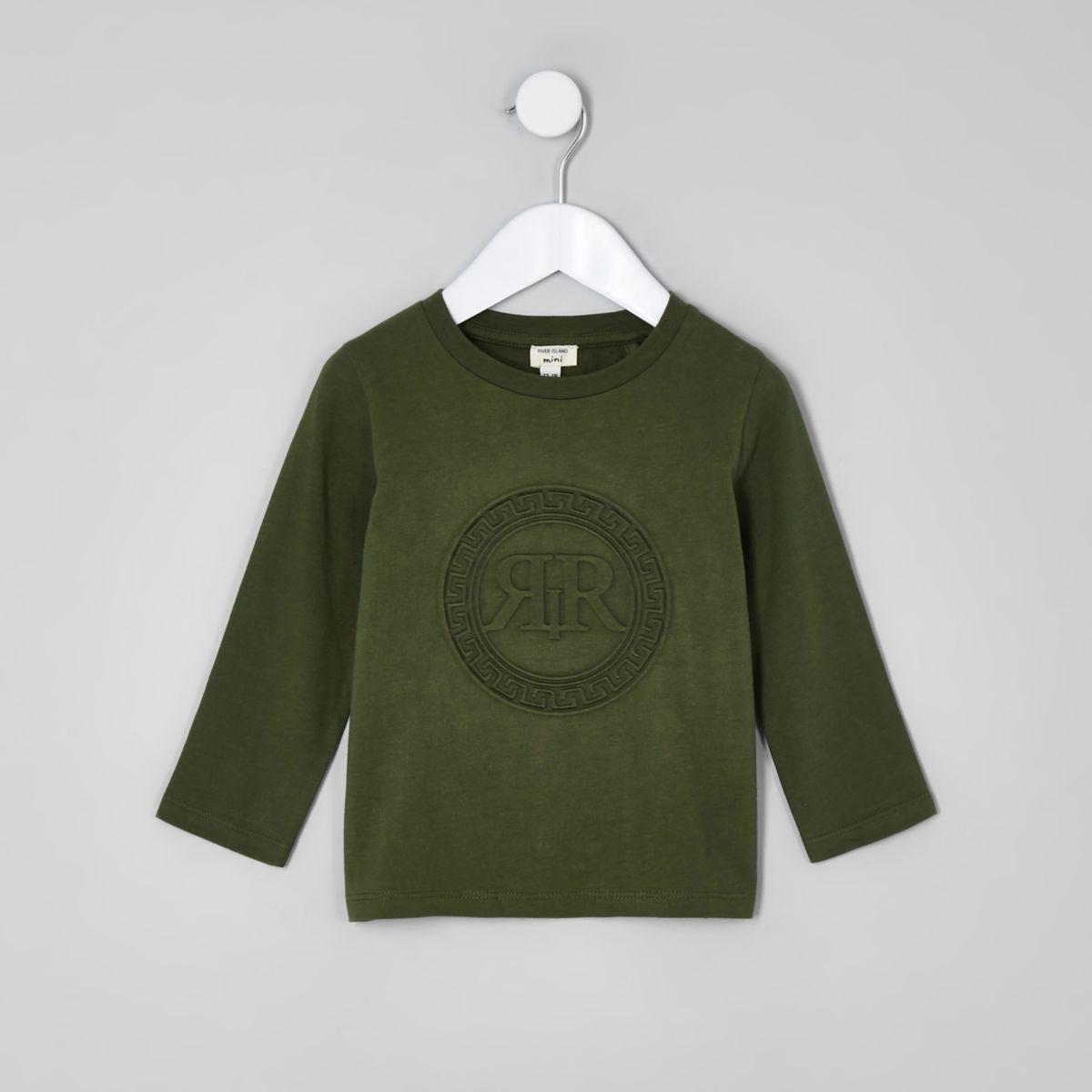 Mini boys khaki green RI embossed shirt