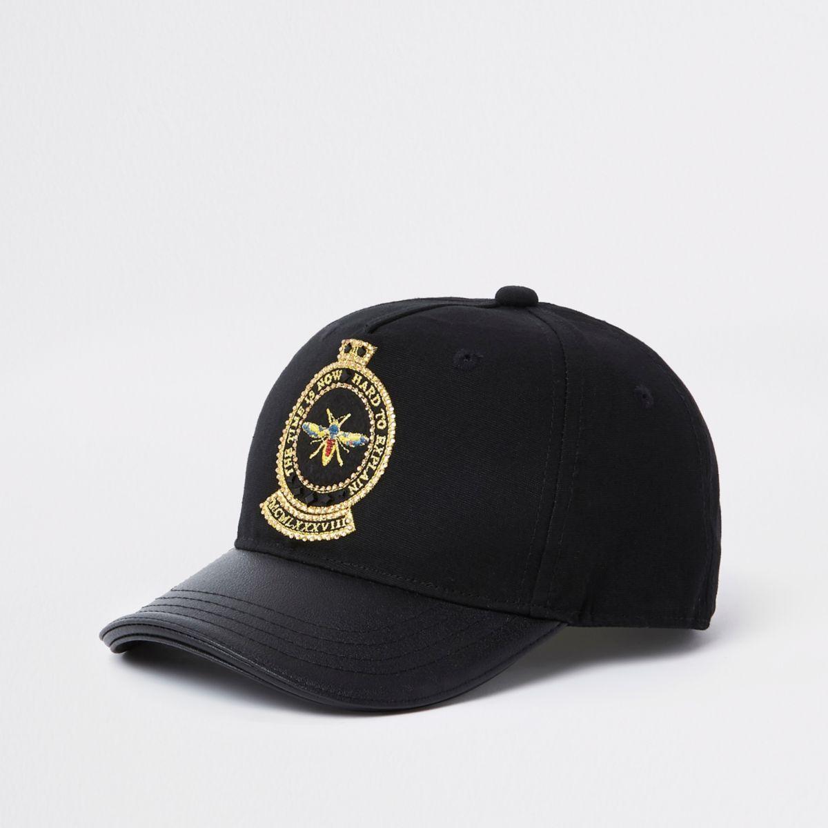 Boys black embellished bee cap