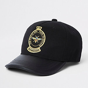 Mini boys black bee cap