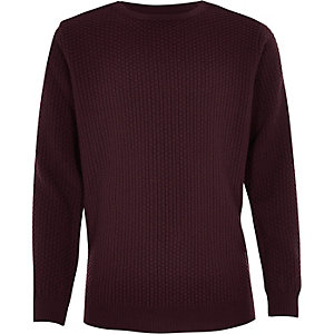 Boys burgundy textured jumper