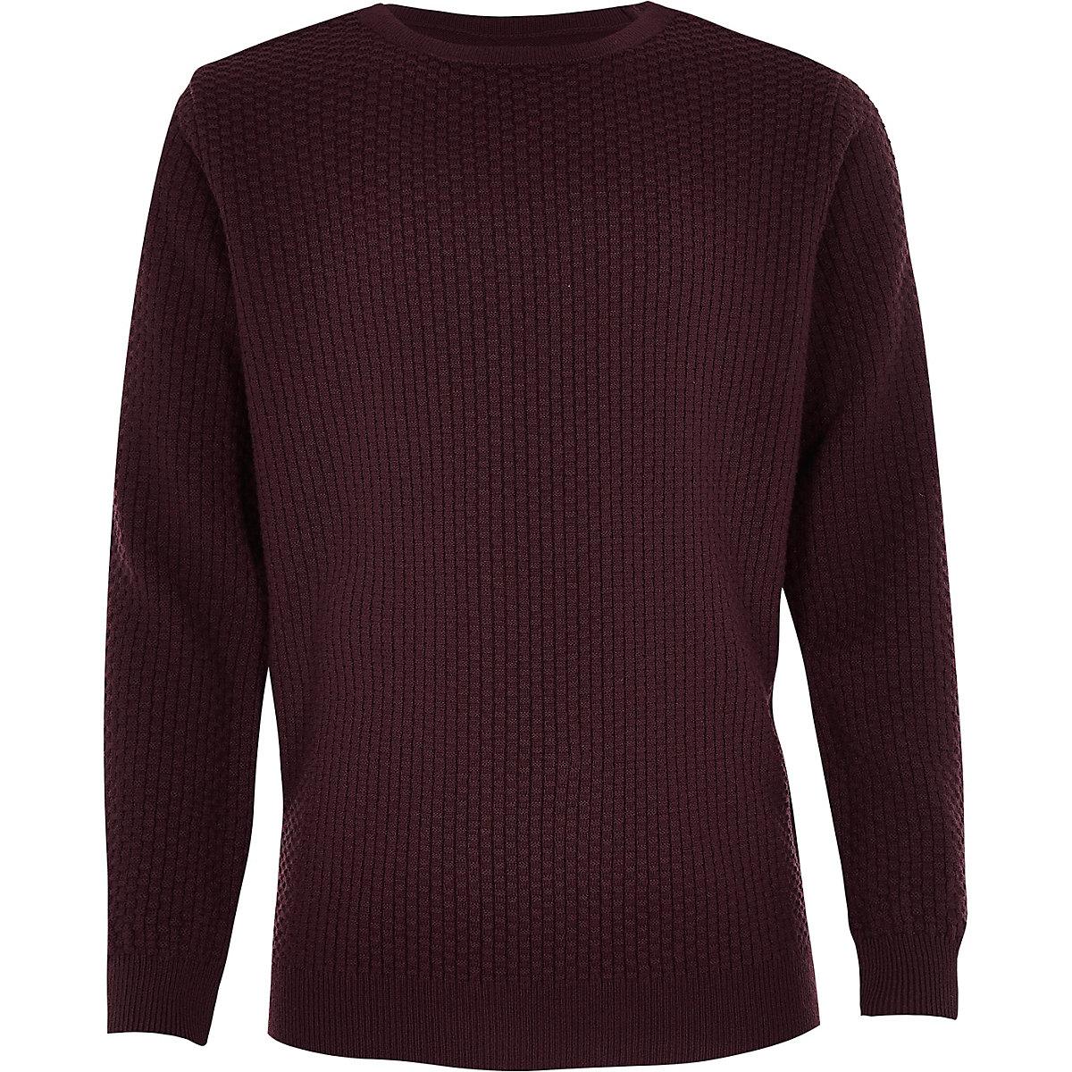 Boys burgundy textured jumper