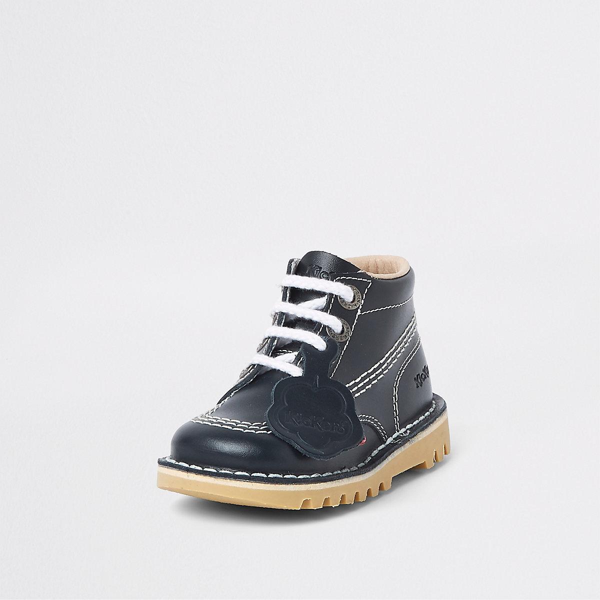 Mini kids navy Kickers lace-up boots
