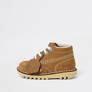 Mini kids light brown Kickers lace-up boots