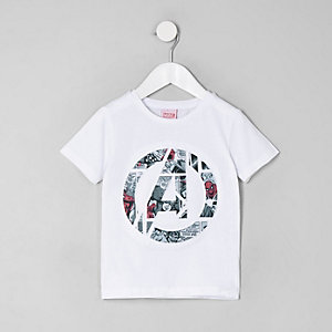 Marvel – T-shirt à imprimé Avengers blanc pour mini garçon