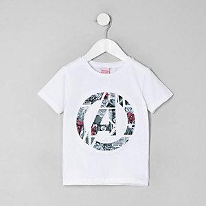 Mini - Wit T-shirt met Avengers Marvel-print voor jongens