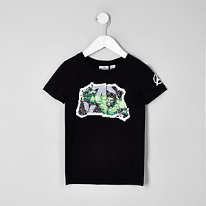 Mini boys black Marvel hulk reverse sequin t-