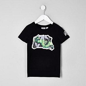 Mini - Marvel - Zwart T-shirt met 'Hulk'-print en lovertjes voor jongens