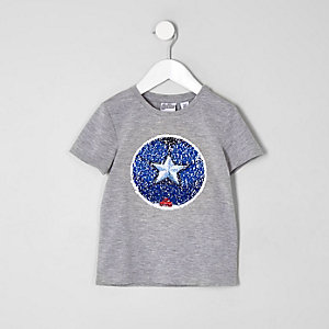 Mini boys grey Avengers sequin print T-shirt
