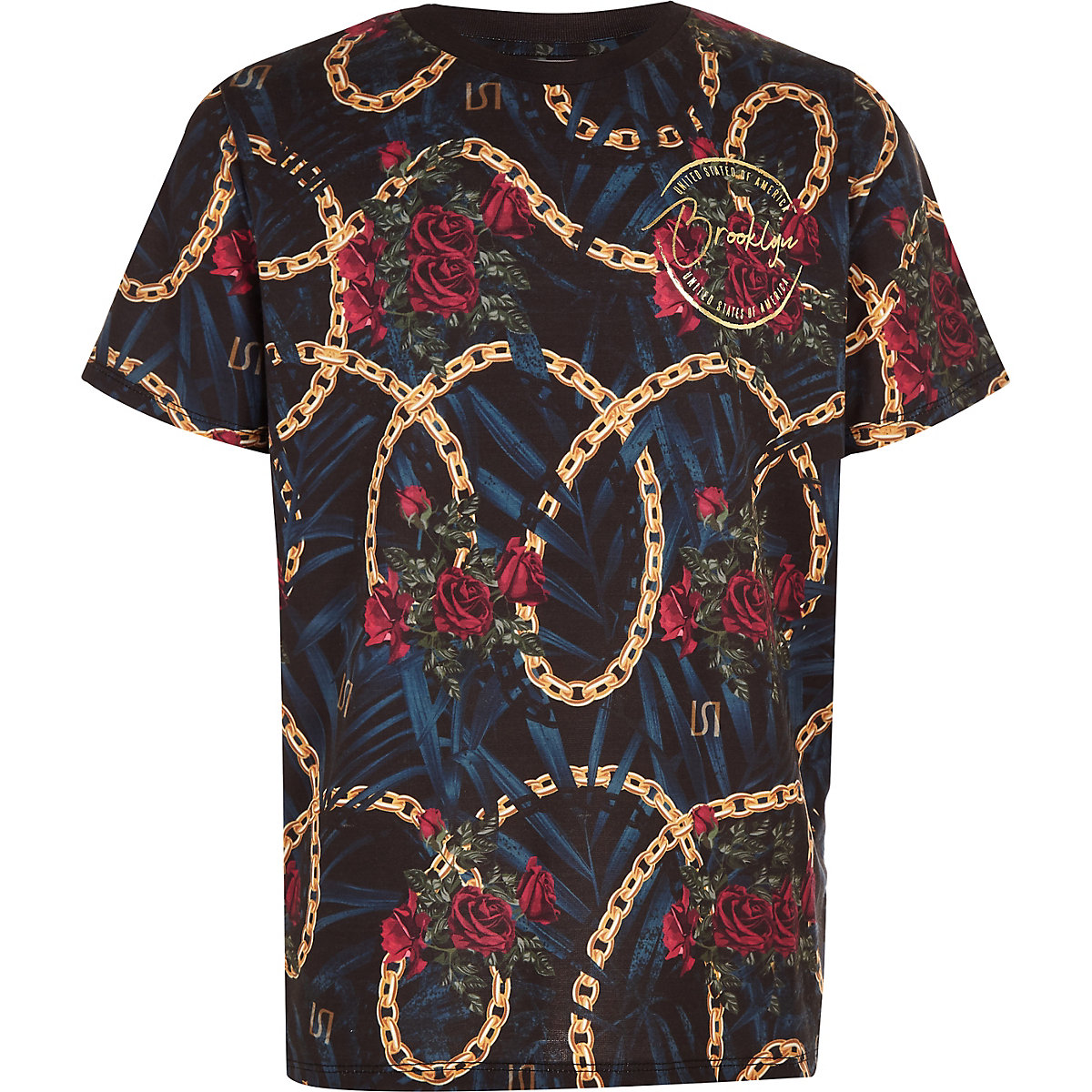 Boys black chain print T-shirt