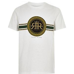 T-shirt blanc avec logo RI brodé pour garçon