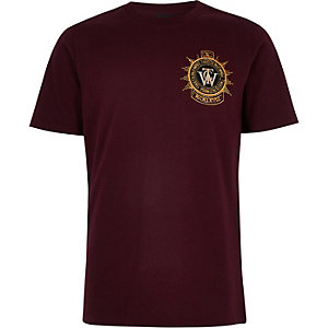 Boys burgundy embroidered badge T-shirt
