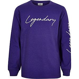 Sweat brodé «Legendary» violet pour garçon