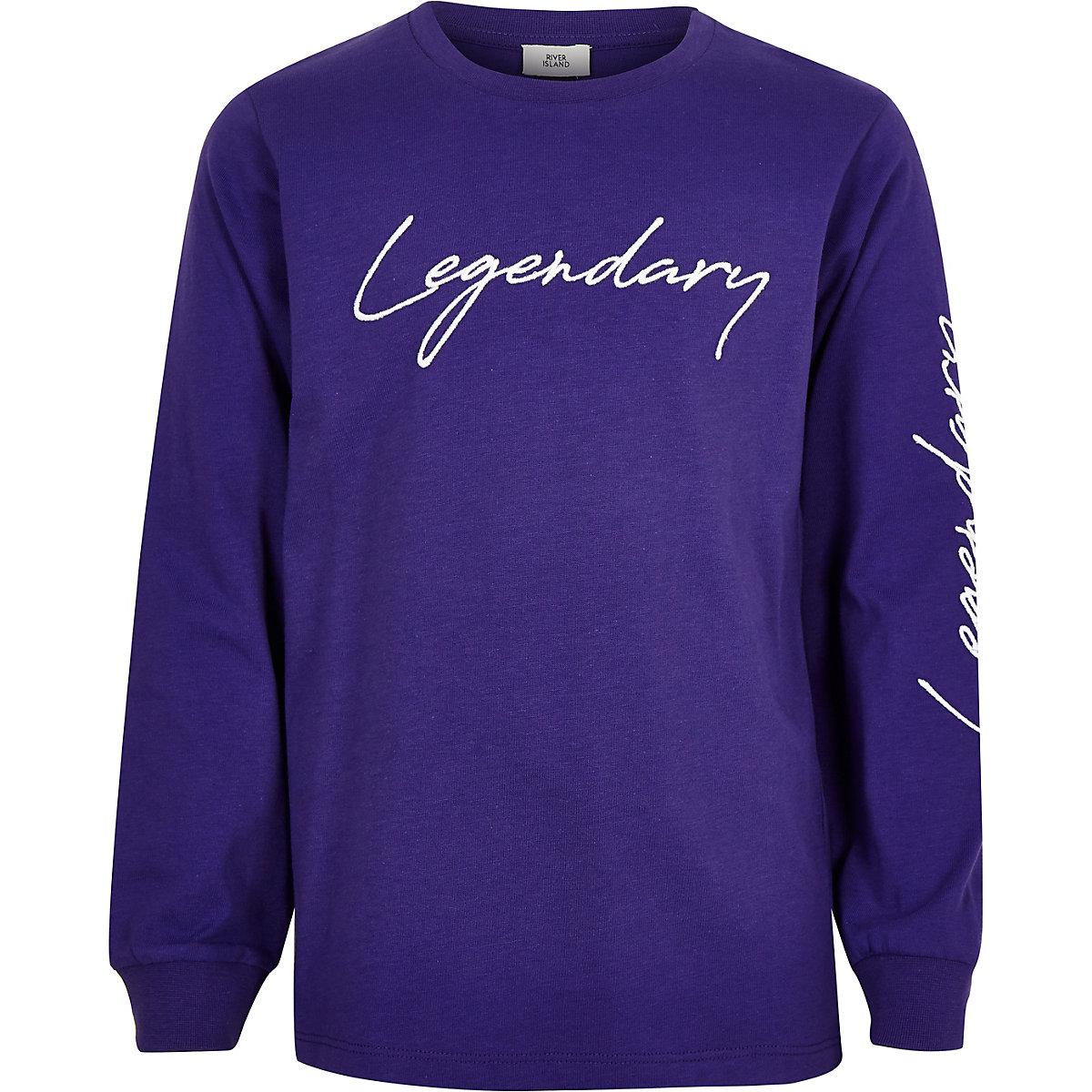 Boys purple 'legendary' embroidery sweatshirt