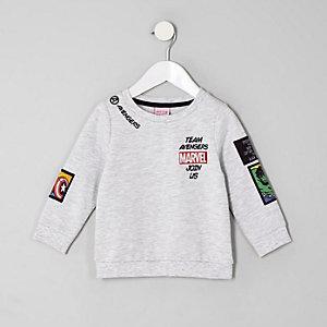Mini - Grijs sweatshirt met Marvel patch en print voor jongens