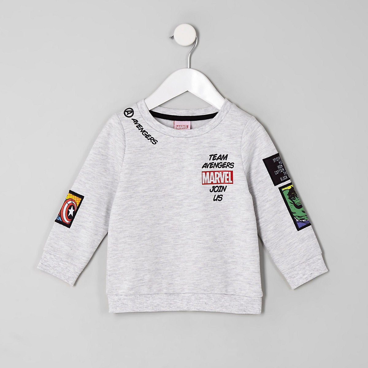 Mini boys grey Marvel patch print sweatshirt