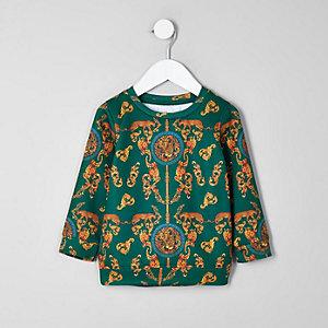 Mini - Groen sweatshirt met barokke print voor jongens