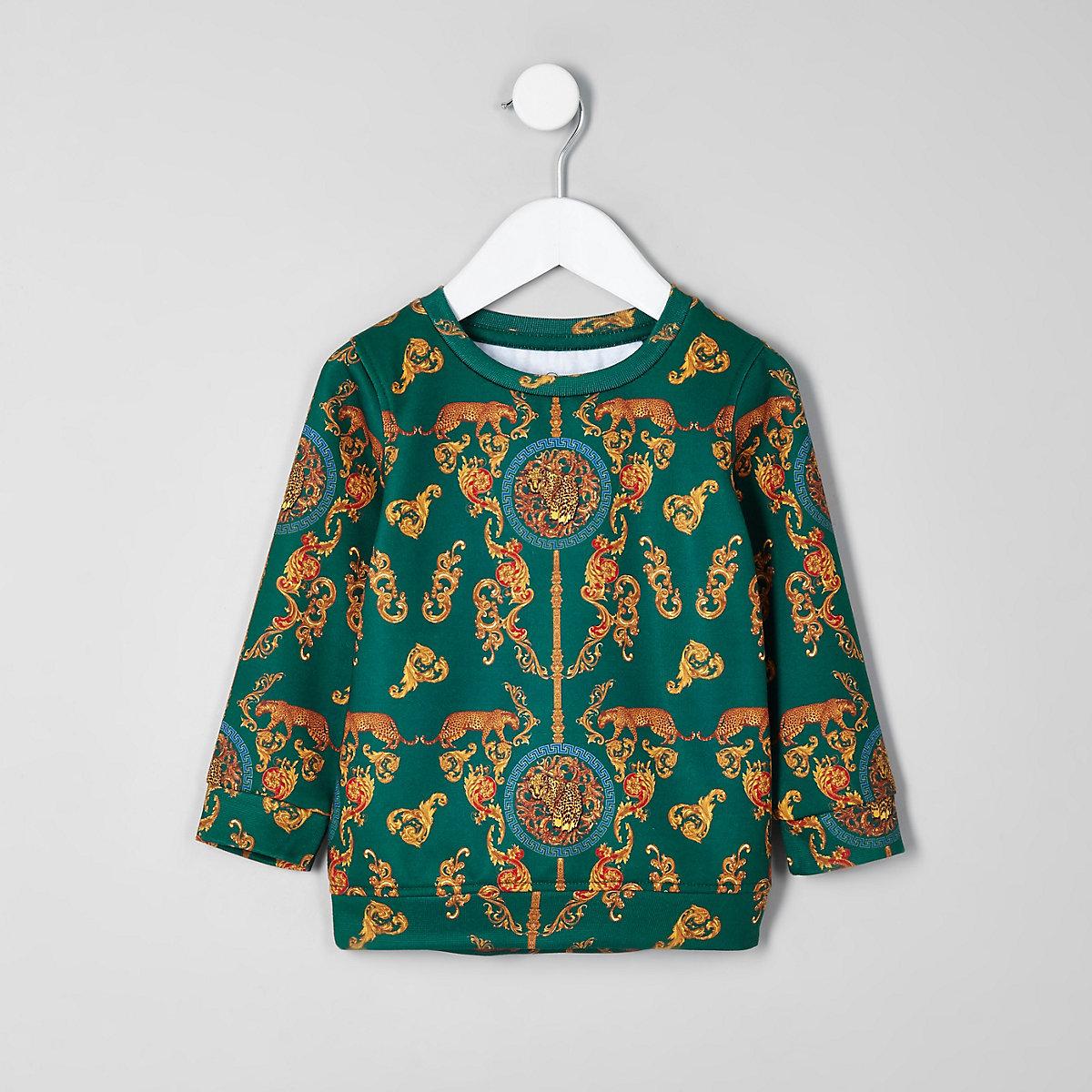 Mini boys green baroque sweatshirt