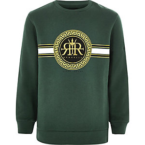 Boys green RI embroidered sweatshirt