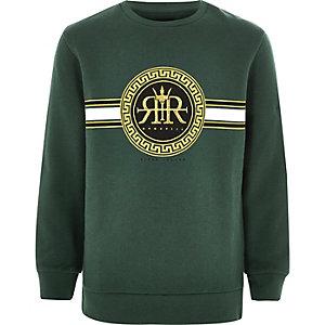 Groen sweatshirt met geborduurd RI-logo voor jongens