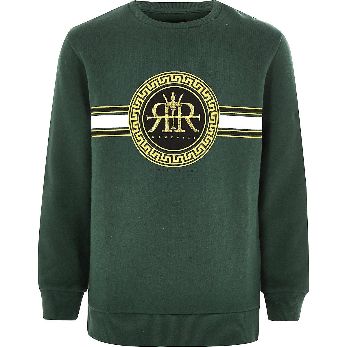 Boys green RI embroidered sweatshirt
