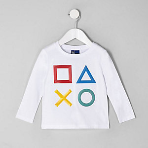 Mini - Wit T-shirt met Playstation-print voor jongens