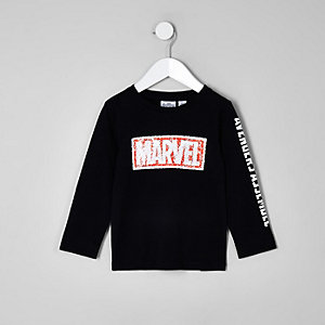 Mini boys black Marvel sequin sweatshirt