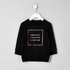 Mini - Zwarte trui met 'seriously handsome'-print voor jongens