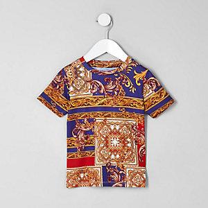 Blaues T-Shirt mit Barock-Print