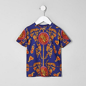 Mini boys navy baroque print T-shirt