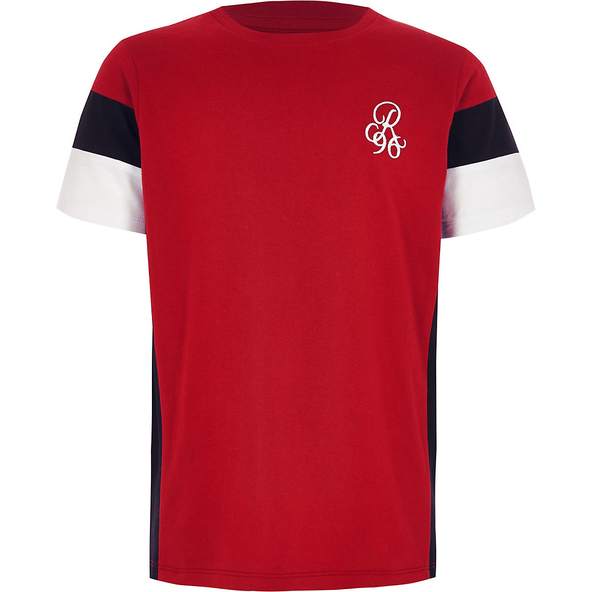 Boys red colour block embroidered T-shirt