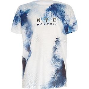 Wit T-shirt met blauwe vlekken voor jongens