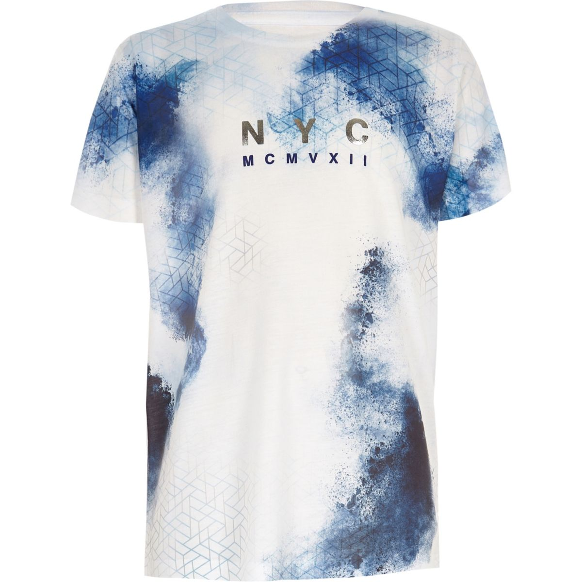 Boys white and blue smudge T-shirt
