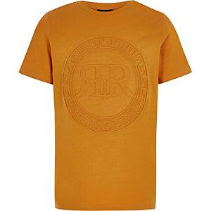 Oranje T-shirt met RI-logo in reliëf voor jongens