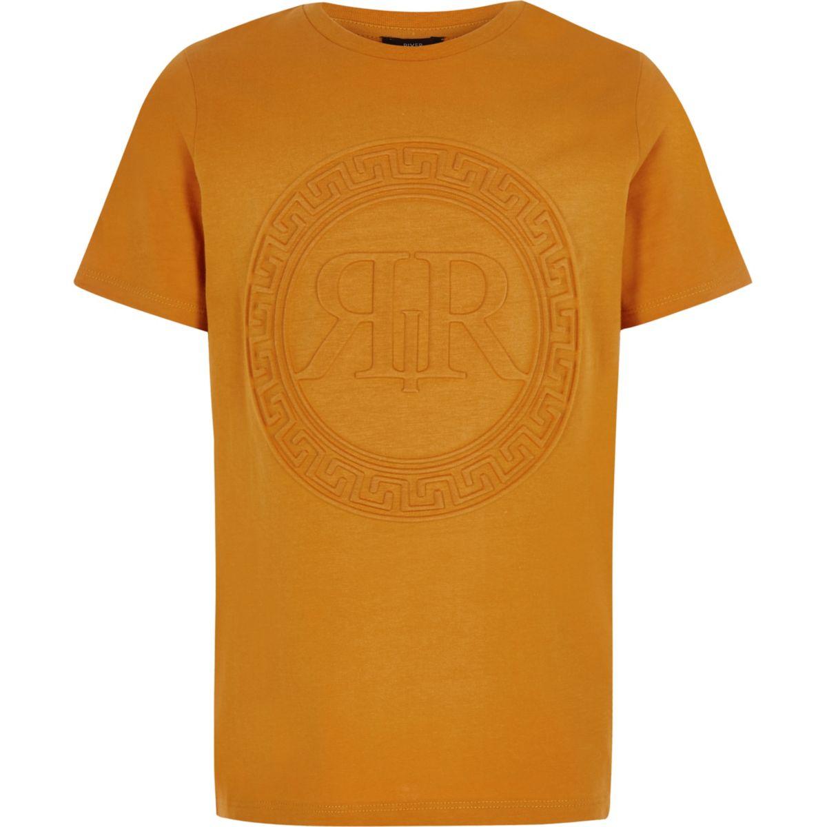 Boys orange RI embossed T-shirt