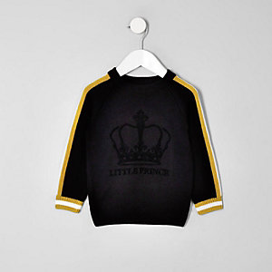 Mini boys black 'Little prince' flock jumper