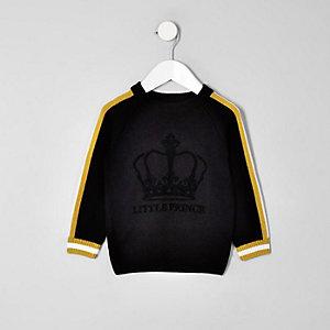 Mini - Zwarte gevlokte pullover met 'Little prince'-print voor jongens