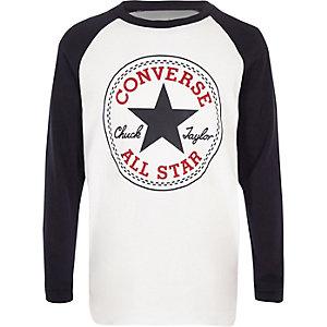 Converse – Weißes T-Shirt mit Raglanärmeln