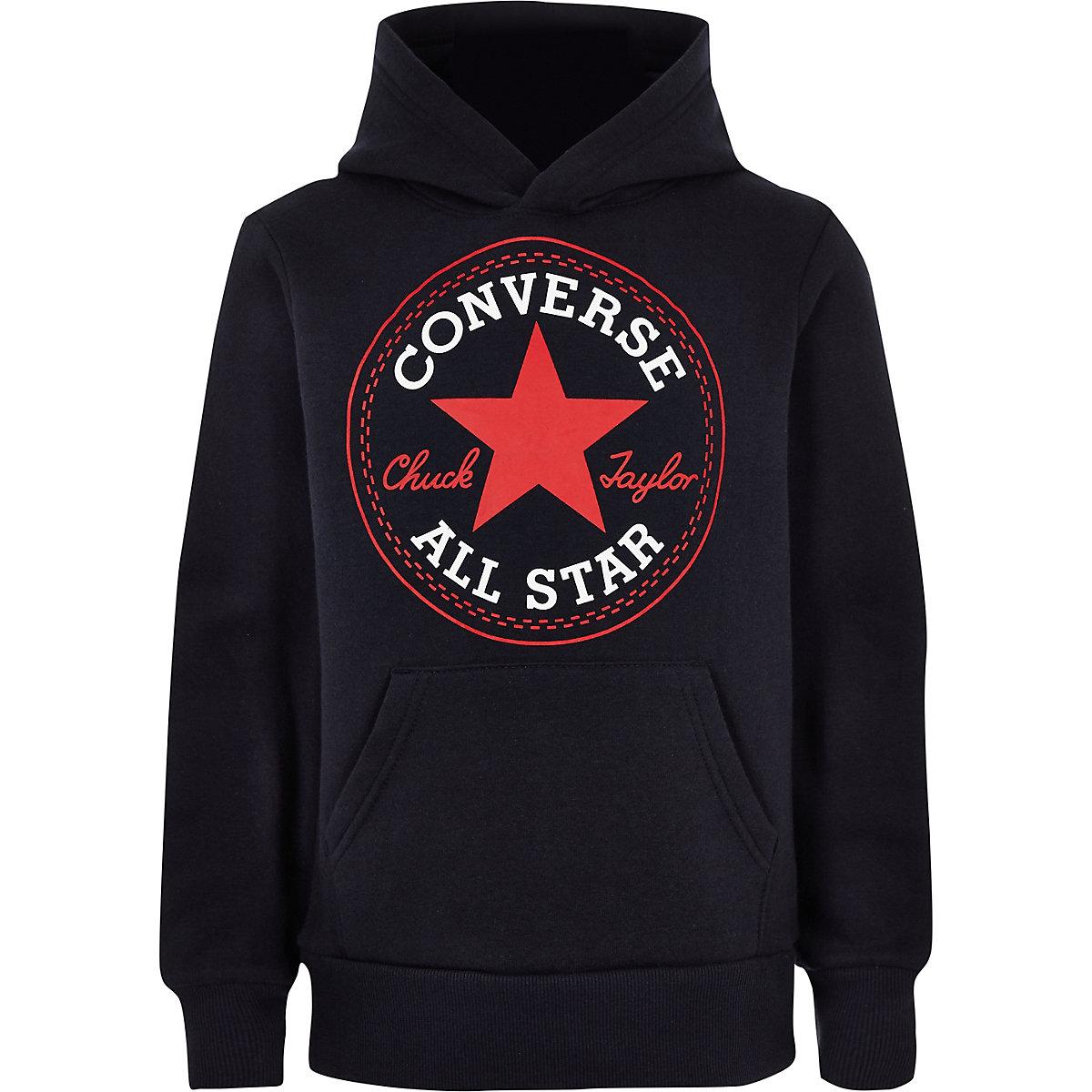 Boys navy Converse logo hoodie