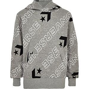 Converse – Sweat à capuche gris avec logo pour garçon