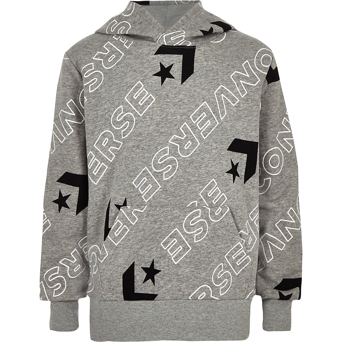 Boys grey Converse logo print hoodie
