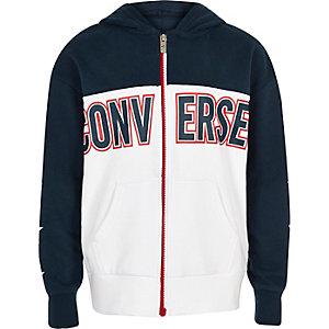 Boys navy Converse zip hoodie