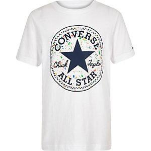 Converse - Wit T-shirt met verfspetters en logo voor jongens