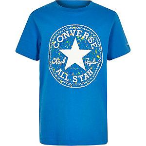 Converse – T-shirt bleu à logo motif éclaboussure pour garçon