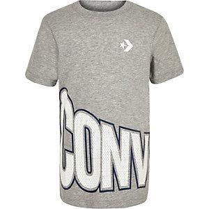 Converse – T-shirt à logo enveloppant gris pour garçon