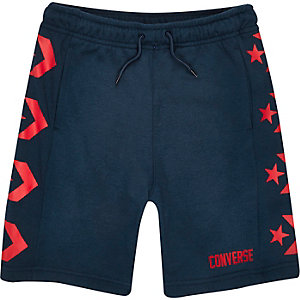 Converse – Marineblaue Jersey-Shorts
