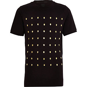 Boys black skull studded T-shirt